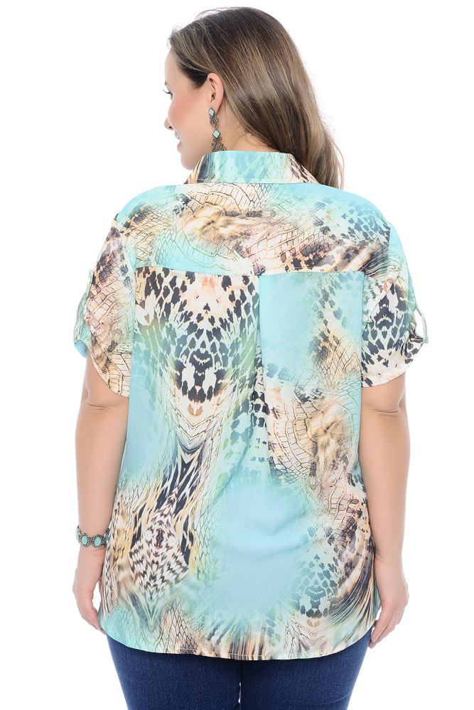 Camisa Plus Size Feminina Estampada Animal Print