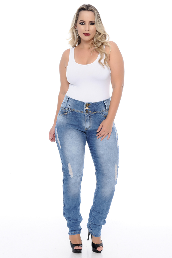 Calça Jeans Plus Size Destroyed
