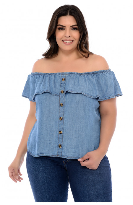 Bata Jeans Plus Size Ombro a Ombro Lady