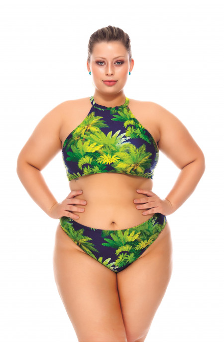 Biquíni Plus Size Top Cropped Estampado