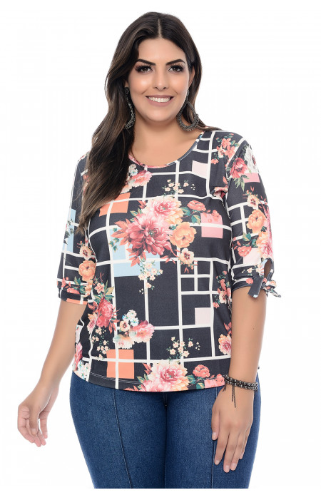 Blusa Plus Size Black Flower