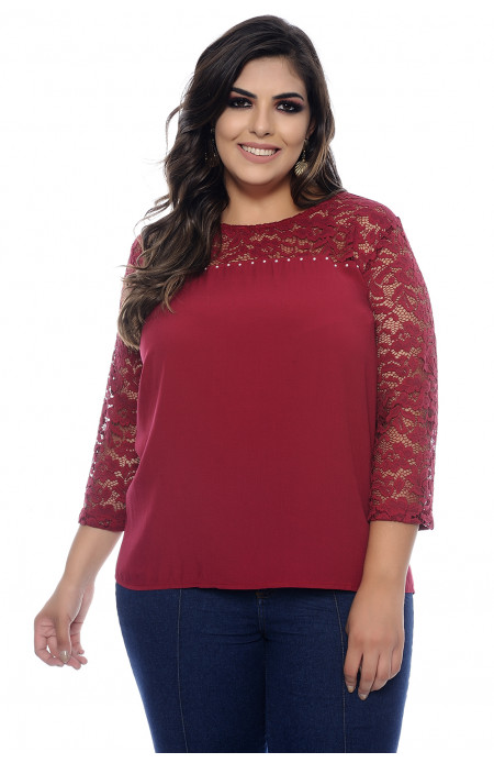 Blusa Plus Size Calcutá Bordô