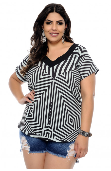 Blusa Plus Size Geometric