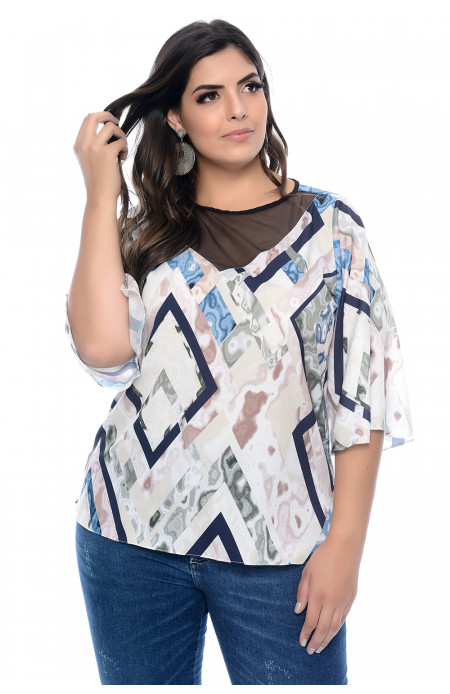 Blusa Plus Size Liquid Colors