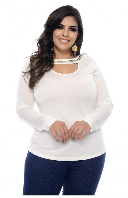 Blusa Plus Size Soft Cool Off White