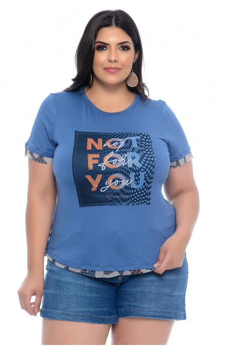 Blusa T-Shirt Plus Size Azul Not For You