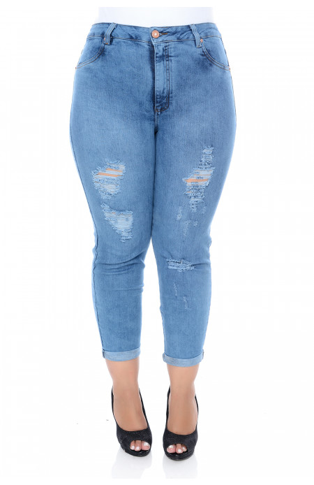 Calça Plus Size Boyfriend Cropped