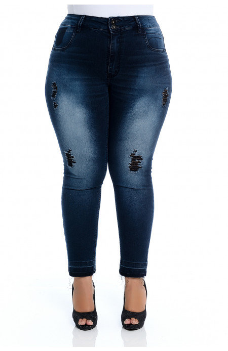 Calça Plus Size Jeans Escuro Skinny Destroyed