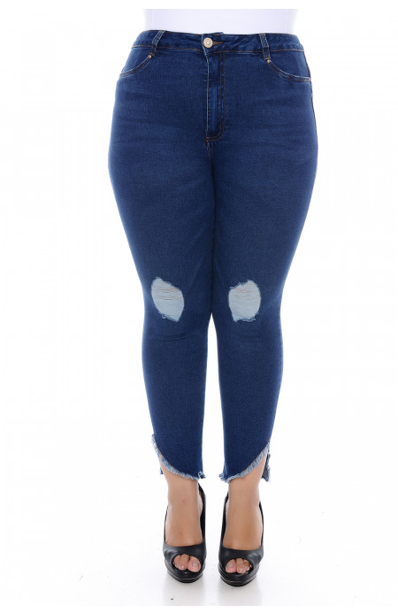 Calça Jeans Plus Size Super Skinny Cropped Deep Blue