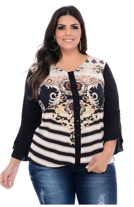 Camisa Plus Size Angelica Estampada