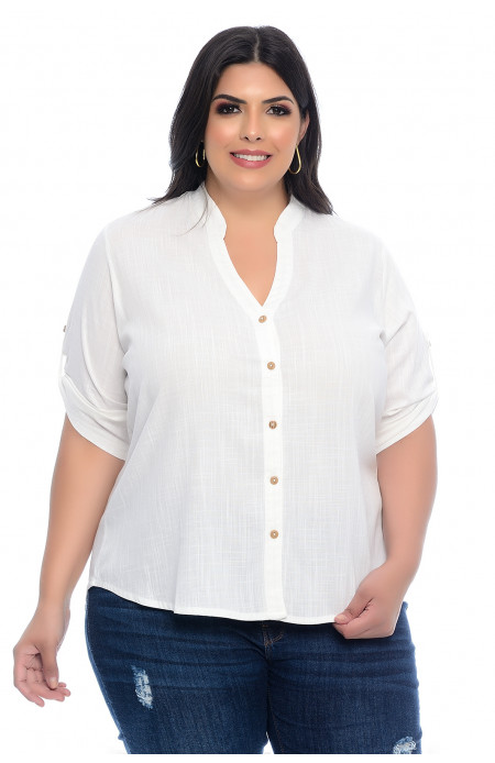 Camisa Plus Size Off White Gola Padre