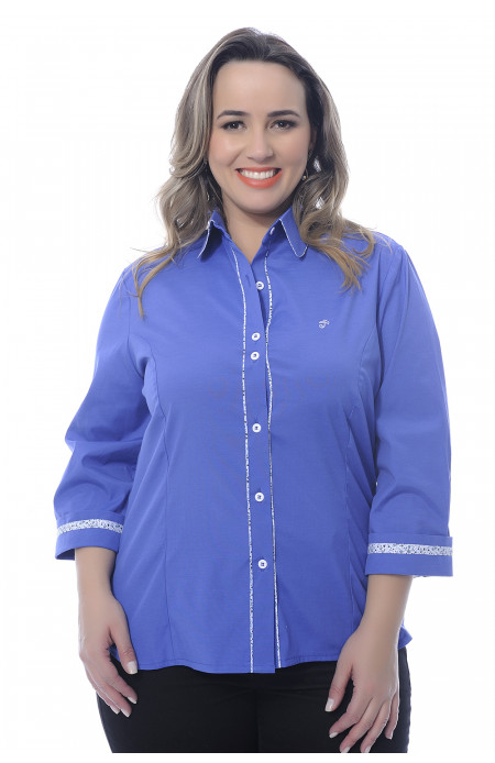 Camisa Plus Size Royal Floral