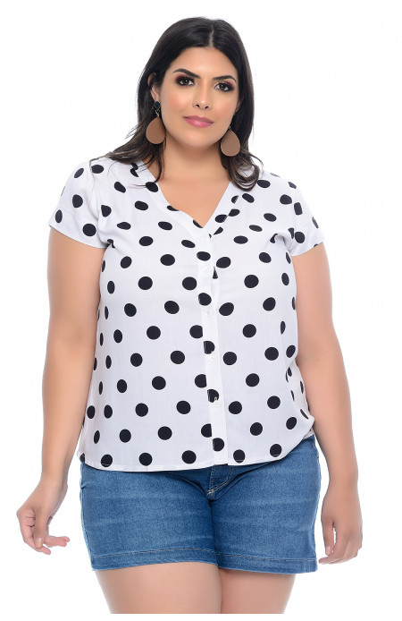 Camisa Plus Size Viscose Poá Bella