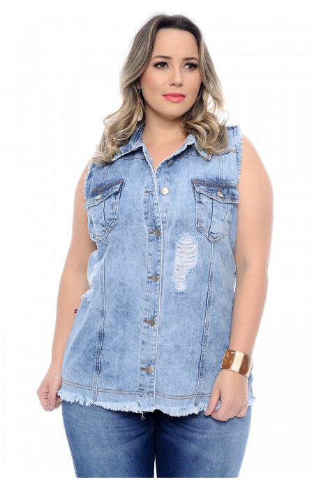 Colete Jeans Plus Size Destroyed