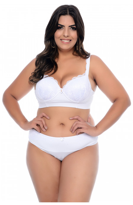 Conjunto Lingerie Plus Size Branco Rendado Queen