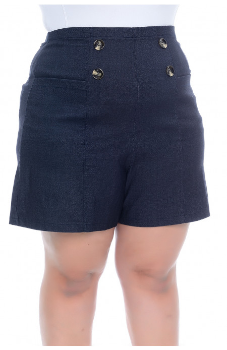 Shorts Plus Size Bengaline Azul Denin Julieta