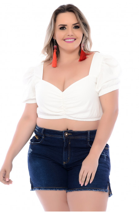 Top Cropped Plus Size Princesa Off White