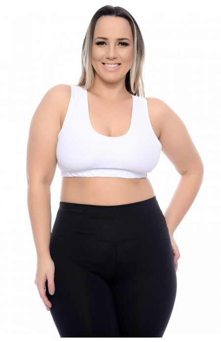 Top Plus Size Fit Decote Redondo Branco