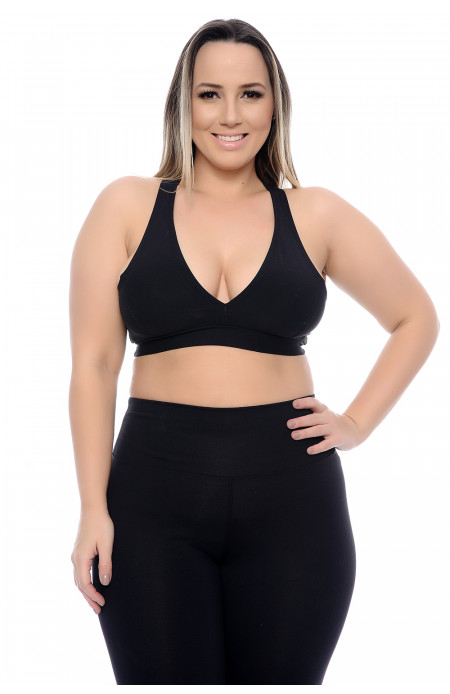 Top Plus Size Fit Decote V Costas Nadador Preto