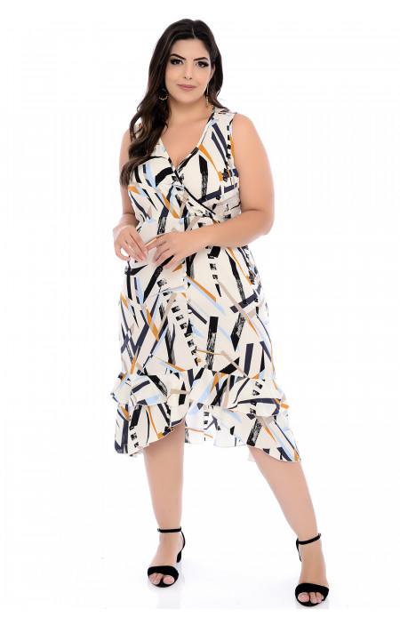 Vestido Plus Size Midi Viscose Estampado